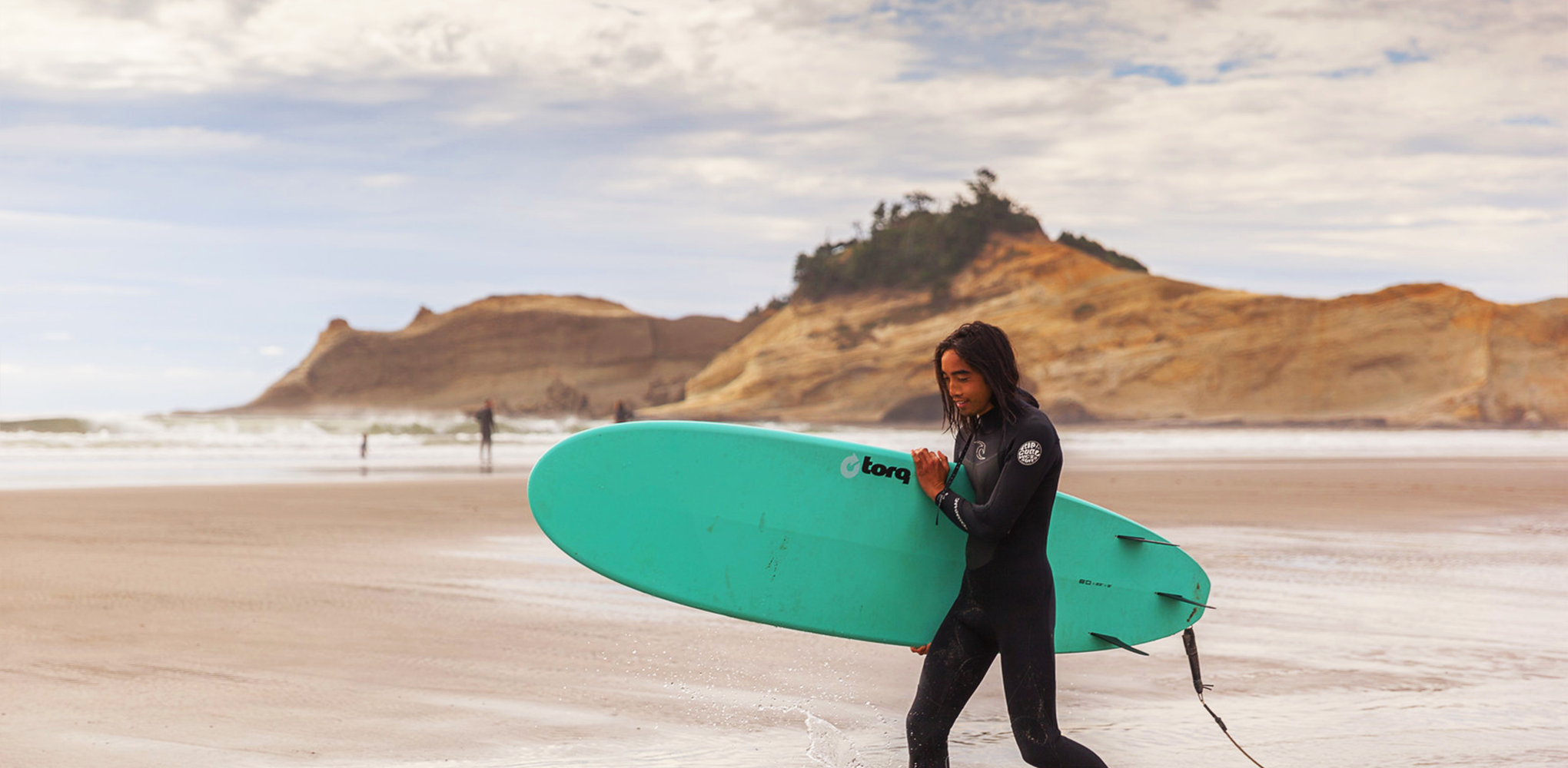 Surfing at Cape Kiwanda on the Oregon Coast